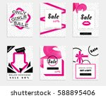 collection of pink dotted sale... | Shutterstock .eps vector #588895406