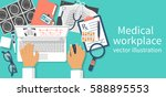 doctor with laptop at desk... | Shutterstock .eps vector #588895553