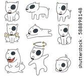 vector set of dog  bull terrier