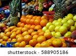 green market with various fresh ... | Shutterstock . vector #588905186