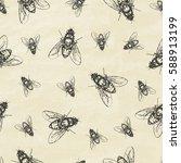 seamless pattern with flies....   Shutterstock .eps vector #588913199