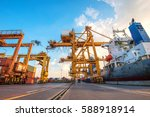 container container ship in... | Shutterstock . vector #588918914
