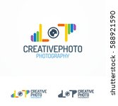 photography logo set with lens... | Shutterstock .eps vector #588921590