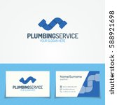plumbing service logo set with... | Shutterstock .eps vector #588921698