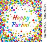 vector happy purim carnival... | Shutterstock .eps vector #588925034