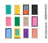 vector different doors set... | Shutterstock .eps vector #588944993