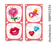 greeting card set with rose ... | Shutterstock .eps vector #588951554