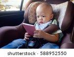 cute asian toddler baby boy... | Shutterstock . vector #588952550