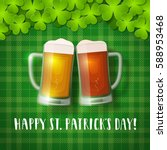 st. patrick's beer mugs on a... | Shutterstock .eps vector #588953468
