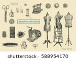 vintage sewing studio sign with ... | Shutterstock .eps vector #588954170