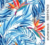 watercolor tropical leaves and... | Shutterstock . vector #588954743