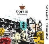 restaurant menu design. vector... | Shutterstock .eps vector #588955193
