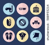 set of 9 fun filled icons such... | Shutterstock .eps vector #588955214