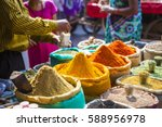 colorful spices powders and... | Shutterstock . vector #588956978