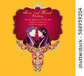 indian wedding invitation card...   Shutterstock .eps vector #588959204
