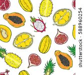 pattern of exotic fruits. on a... | Shutterstock .eps vector #588960254