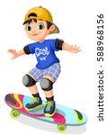cool boy on skateboard | Shutterstock .eps vector #588968156