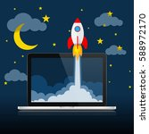 the spacecraft crashes outside... | Shutterstock .eps vector #588972170