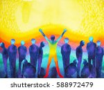 man with positive power and... | Shutterstock . vector #588972479