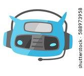 funny robot icon flat vector | Shutterstock .eps vector #588973958