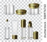 luxury cosmetic bottle set with ... | Shutterstock .eps vector #588976760