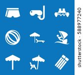 set of 9 vacation filled icons... | Shutterstock .eps vector #588977240