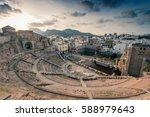Roman Amphitheater in Cartagena, Spain at sunset.