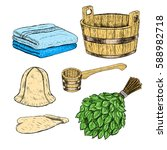 set for sauna. hand drawn items ... | Shutterstock .eps vector #588982718