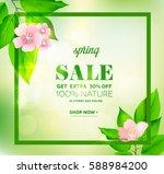 spring word on bokeh green... | Shutterstock .eps vector #588984200