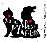 typographic poster with cat and ... | Shutterstock .eps vector #588984434