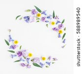 Stock photo flowers composition wreath made of various colorful flowers on white background easter spring 588989540