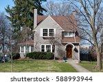 gray stucco urban house | Shutterstock . vector #588993944
