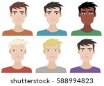 vector portraits young guys | Shutterstock .eps vector #588994823