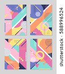 set of trendy geometric... | Shutterstock .eps vector #588996524