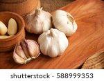 garlic. sliced garlic  garlic... | Shutterstock . vector #588999353