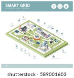 smart grid network  power... | Shutterstock .eps vector #589001603