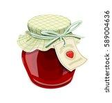 strawberry jam jar. vintage... | Shutterstock .eps vector #589004636