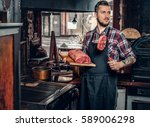 portrait of a bearded chef with ... | Shutterstock . vector #589006298