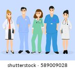 group of doctors in a hospital  ... | Shutterstock . vector #589009028