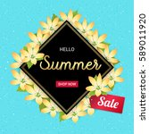 summer flowers banner or poster ... | Shutterstock .eps vector #589011920