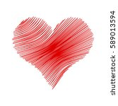 valentine heart painted doodle... | Shutterstock .eps vector #589013594