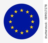 official eu flag  round button. ... | Shutterstock .eps vector #589017278