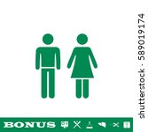 man and woman icon flat. green... | Shutterstock .eps vector #589019174