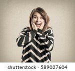 teenage girl   expressions... | Shutterstock . vector #589027604