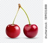 red cherry. two ripe berries... | Shutterstock .eps vector #589031888