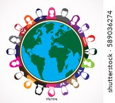 earth globe with people ... | Shutterstock .eps vector #589036274