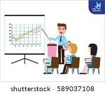 business seminar speaker doing...   Shutterstock .eps vector #589037108