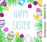 happy easter poster. hand drawn ... | Shutterstock .eps vector #589037570