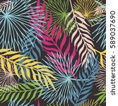 pattern of colored tropical... | Shutterstock .eps vector #589037690