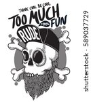 bearded skull illustration | Shutterstock .eps vector #589037729
